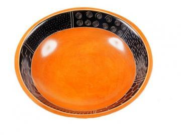 Speckstein Räucherschale orange mit Bordüre