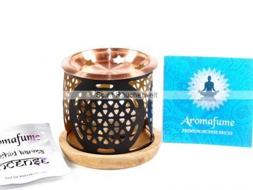 Blume des Lebens - Aromafume Diffuser - 3 teiliges Stövchen mit Kupferteller