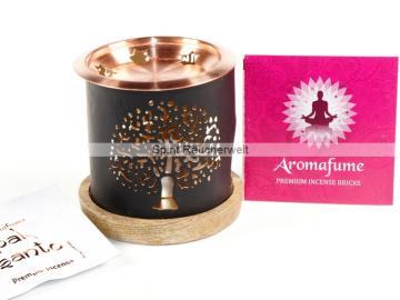 Aromafume Diffuser Baum des Lebens - 3 teiliges Stövchen mit Kupferteller