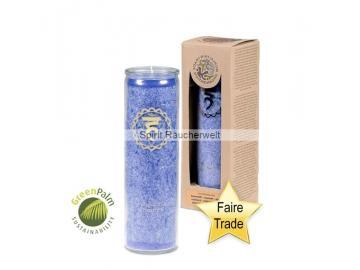 Chakra Kerze - 5. Chakra Kerze im Glas mit naturreinen äth. Ölen - faire Trade und GeenPal zertifiziert