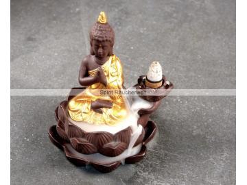 Rückfluss - Wasserfall Räucherkegelhalter Buddha