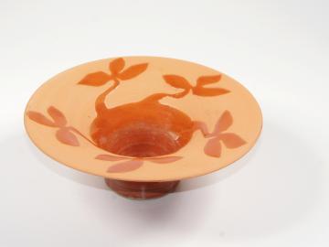 Räucherschale aus Keramik-Ton getöpfert   floral-rot