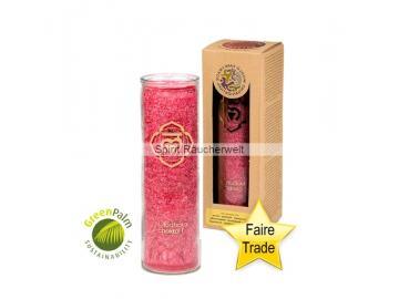 Chakra Kerze - 1. Chakra Kerze im Glas mit naturreinen äth. Ölen - faire Trade und GreenPalm zeritfiziert