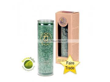 Chakra Kerze - 4.Chakra Kerze im Glas mit naturreinen äth. Ölen - faire Trade und GreenPal zertifiziert