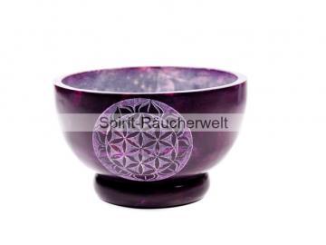 Räucherschale Blume des Lebens lila   Speckstein
