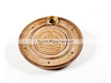 Räucherstäbchen- u. Kegelhalter keltischer Knoten aus Holz