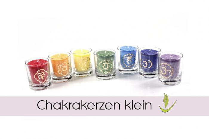 Chakra Kerzen im Glas klein